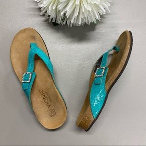 Vionic Sandals Orthaheel Technology Teal Size 8